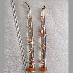 Clear ROSE GOLD FLAKE Lucite ACRYLIC Taper Candles